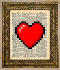Legend of Zelda 8-Bit Heart Dictionary Art