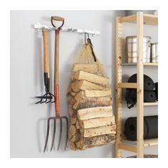 IKEA VAJERT rail with 4 hooks, in-/outdoor Suitable for both indoor and outdoor use. Wall Mounted Hooks, Wall Hooks, Ikea Hooks, Garden Tool Storage, Garden Tools, Garden Ideas, Small Storage, Storage Shelves, Console