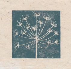 Cowslip seed head mini linocut print £5.00