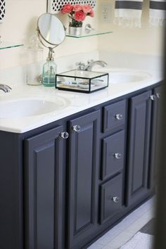navy bathroom vanity decor results - ImageSearch Blue Bathroom Vanity, Navy Blue Bathrooms, Blue Vanity, Bathroom Vanities, Small Bathroom, Dream Bathrooms, Modern Bathroom, Master Bathroom, Painting Bathroom Cabinets