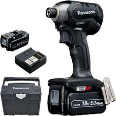 *CLICK TO ENLARGE* Panasonic EY76A1 14.4V/18V brushless impact driver with two 5.0Ah batteries
