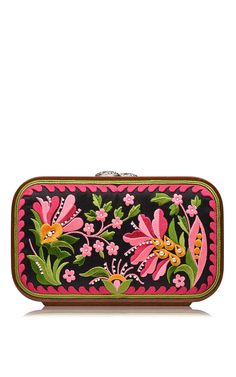 Multicolor Floral Brocade Embroidered Square Bag by Katrin Langer for Preorder on Moda Operandi