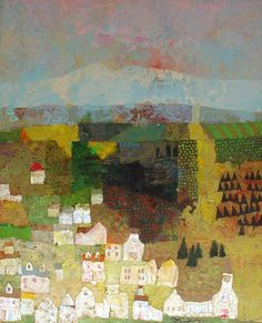 """Farm Village"" - Landscape Paintings by Mark English"