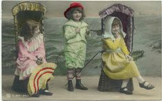 Young Children in Pretty Clothes with Seaside Scenery Studio ANTIQUE 1907 POSTCARD Post Card