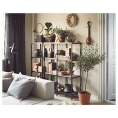Ikea Living Room, Living Room Shelves, Living Room Furniture, Solid Wood Shelves, Rustic Shelves, Wood Shelf, Fjällbo Ikea, Design Industrial, Repurposed Furniture