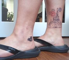 Disney Tattoos (it would have to be ink since I can't stand needles! ha ha) - love the little swirly Mickey head on her heel