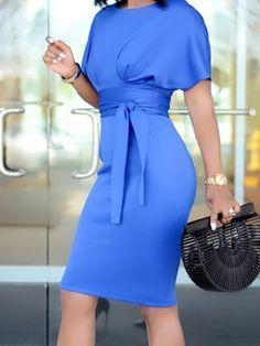 4cccc8d2a Solid Tie Sleeve Button Irregular Dress