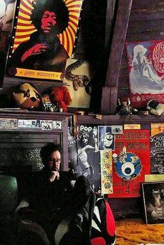 Tim Burton, set of Dark Shadows. I totally had that Jimmi Hendrix poster in my bedroom in high school. Johnny Depp, Dark Shadows Movie, Tim Burton Films, Vintage Room, Vintage Decor, Helena Bonham, Room Ideas Bedroom, Bedroom Decor, Dark Interiors