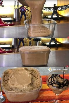 SORVETE DE 2 INGREDIENTES – RENDE 2 LITROS – SUPER ECONÔMICO Cold Desserts, Frozen Desserts, Chocolate Desserts, Sweet Recipes, Cake Recipes, Dessert Recipes, Cooking Ice Cream, Frozen Yogurt, Cheese