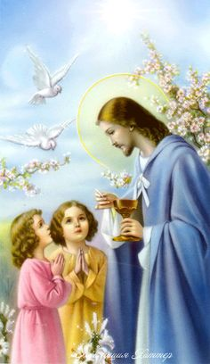 Jesus Christ and the children Jesus Our Savior, Jesus Is Lord, Religious Pictures, Jesus Pictures, Catholic Art, Religious Art, Jesus E Maria, Vintage Holy Cards, Christian Images
