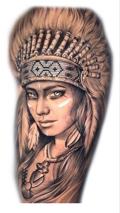 Indian Head Tattoo, Indian Women Tattoo, Indian Girl Tattoos, Wolf Girl Tattoos, Girl Face Tattoo, Family Tattoo Designs, Lion Tattoo Design, Wolf Tattoo Shoulder, Nautical Tattoo Sleeve