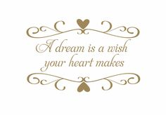 A Dream is A Wish Your Heart Makes Wall Quote Heart Frame Vinyl Wall Decal Saying Poem Baby Nursery Girl Wall Art  22H x 34W FS144. $45.00, via Etsy.