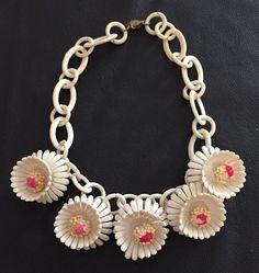 Vintage White Celluloid Chain Necklace With 5 Plastic Flower Pendant Charms #Pendant