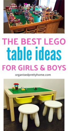 Check out these 15 plus LEGO table ideas.  So simple to make a homemade DIY LEGO play table yourself.  with storage | shelves | for girls and boys | free plans | Ikea Lack hack | Trofast | large or small | furniture | portable | cheap | thrift store | how to build | Organise your kids' toys with Organised Pretty Home #ikea #lego #legostorage #legotable #kidsrooms  #kids #toys #diyproject  #playroom #diylegotable