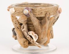 Glass Candle Holder Adorned with Oregon Driftwood and Sea Shells, beach decor, Free Shipping on this item