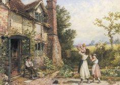 Cottage at Amersham ~ Myles Birket Foster ~ (English: 1825-1899)