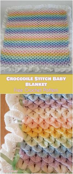 Crocodile Stitch Baby Blanket Free Crochet Pattern The crocodile stitch is a wonderful alternative for making textured patterns for blankets and afghans. In this case, the soft yarn and 'scaly' finish make Crochet Gratis, Free Crochet, Knit Crochet, Crotchet, Crochet Motifs, Crochet Stitches, Crochet Crocodile Stitch, Crochet Baby Blanket Free Pattern, Crochet Baby Blankets