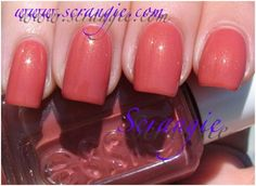 Essie Meatballs is a dark peachy – pink color with fine gold shimmers in it.