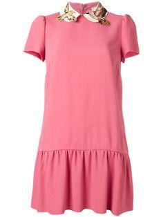 Red Valentino платье с вышивкой птиц на воротнике