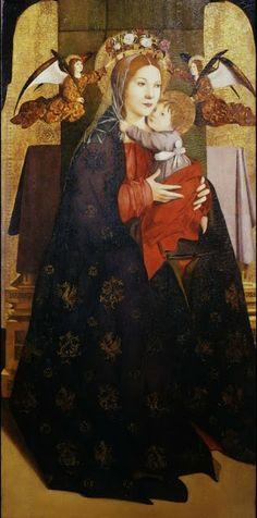 Antonello da Messina c.1470 La Madonna col Bambino e angeli reggicorona è un dipinto a olio e oro su tavola, 114,8×54,5cm, databile al 1470-1475 circa e conservato nella Galleria degli Uffizi a Firenze.