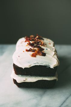 chocolate olive oil cake with candied bacon
