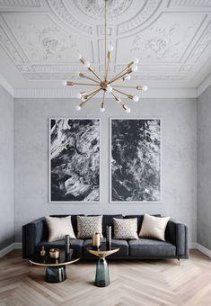 lamps living room lighting ideas dunkleblaues. high ceilings to light grey walls and herringbone parchet. | hohe decken zu  lichtgrauen wänden lamps living room lighting ideas dunkleblaues