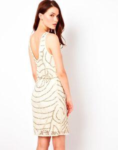 Warehouse   Warehouse Lace And Bead Cowl Back Dress at ASOS