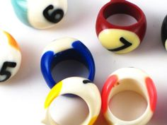 Now this is different: Used pool balls (billiard balls) made into rings.