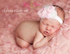 Pink Chiffon Baby Headbands.Baby Flower by HartsandRoses on Etsy, $11.95