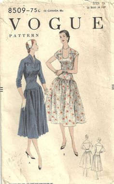 Your place to buy and sell all things handmade Pattern Dress, Dress Sewing Patterns, Clothing Patterns, Vintage Dresses, Vintage Outfits, Vintage Fashion, Vintage Vogue Patterns, Patron Vintage, Costume Patterns