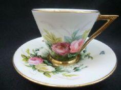 George Jones Stunning coffee cup & saucer HANDPAINTED