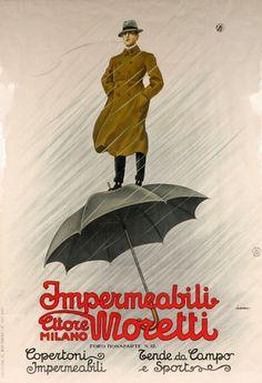 Impermeabili Ettore Moretti Milano / A lot of ligatures & swashes in this adv