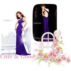 """""""Sherri Hill 2970 Matte Jersey Asymmetrical 2014 Prom Dress Navy"""" by boran-bulm on Polyvore"""