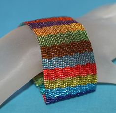Jeweltone Stripes ... Peyote Bracelet . Beadwoven by time2cre8, $61.00