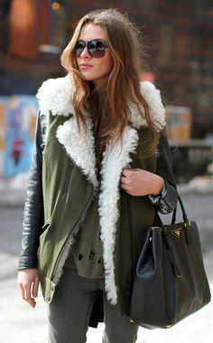 Winter chic, army green, amaze.