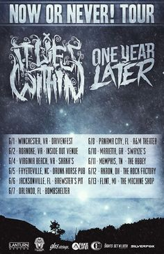 """NEWS: The metalcore band, It Lies Within, has announced they will be heading out on the """"Now Or Never! Tour"""" with One Year Later. The tour runs from late May into June, and sees It Lies Within still touring off their 2012 release, Chrysalis. You can check out the dates and details at http://digtb.us/nowornevertour"""