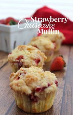 Strawberry Cheesecake Muffins - 2 whole cups of chopped strawberries are in the batter and the surprise filling is a sweet cream cheese mixture.