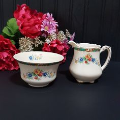 Antique Enoch Wedgwood & Co Unicorn Mark, DOUGLAS Cream and Sugar Set, Floral, Green Cross Hatch Band, Tan Scrolls, Tan Flowers, (1908+) Bubble Paper, Shredded Paper, Color Scale, Cream And Sugar, Vintage China, Wedgwood, Blue Flowers, Red And Blue, Unicorn