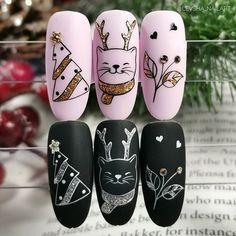 Cute Christmas Nails, Christmas Nail Art Designs, Cat Nails, New Year's Nails, Animal Nail Designs, Nail Art Noel, Magic Nails, Pink Acrylic Nails, Manicure E Pedicure