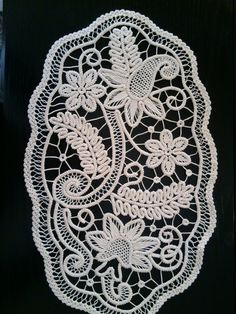 Doily Romanian Point Lace Style Crochet Doily IVORY Floral Pattern