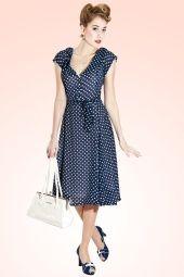50s Violet Polka Dot Dress in Blue
