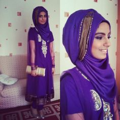 The beauty of hijab. The bright purple and silver are perfect