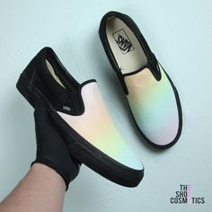 Introducing our pastel rainbow customized vans shoes. Looking for a painted canvas shoes, custom Vans sneakers or Vans slip on shoes? Then these custom vans sneakers are perfect for you. Vans Tennis Shoes, Vans Shoes Women, Vans Slip On Shoes, Custom Vans Shoes, Custom Sneakers, Sock Shoes, Slip On Sneakers, Shoes Sneakers, Customised Vans