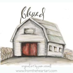 The Blessed Barn is an original design painted by Pam Coxwell. all designs copyright pam coxwell designs - thank you for not copying or duplicating in any form Small Canvas Paintings, Canvas Art, Barn Paintings, Barn Drawing, White Tea Towels, Barn Art, Barn Wood Frames, Inspiration Art, Oeuvre D'art