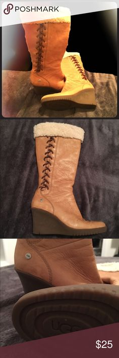 Tan/beige colored uggs. Size 6. Tan Uggs. Size 6. Wedge boots, fur cuffs and lacing. Super cute. Gently worn, good condition. Let me know if you have any questions! UGG Shoes Heeled Boots