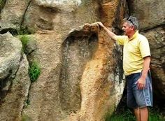 Ancient Giant Foot Print in South Africa (Giants are Nephilim meaning 'of the fallen', ie son's of the fallen angels, what we call aliens) Ancient Aliens, Ancient History, Ancient Egypt, Ancient Mysteries, Ancient Artifacts, History Channel, Ufo, Giant Skeletons Found, Nephilim Giants