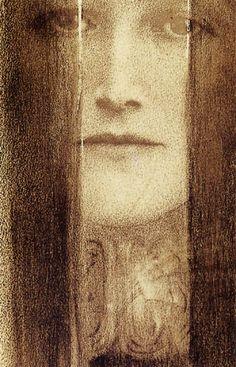 The Veil, 1909, by Fernand Khnopff, (1858–1921)