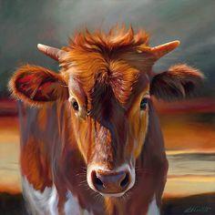 """Sienna Sun"" by Teresa Elliott, Artist - fine artist represented in Jackson Hole, Wyoming Great Paintings, Animal Paintings, Artist Gallery, Fine Art Gallery, Cow Face, Cowboy Art, Wildlife Art, Western Art, Painting Inspiration"