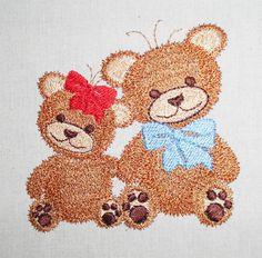 two Teddies machine embroidery  www.cyncopia.com