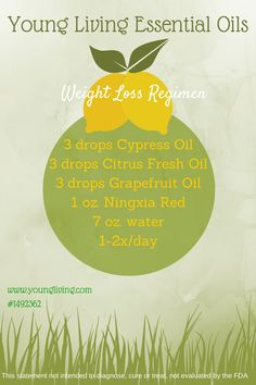 Healthy fat burning weight loss idea!  I am starting this tomorrow - hope it helps!  I already drink NingXia Red twice per day, so adding these other essential oils won't be any trouble at all!  It is all completely natural so it shouldn't hurt a thing.  It's worth a try!!